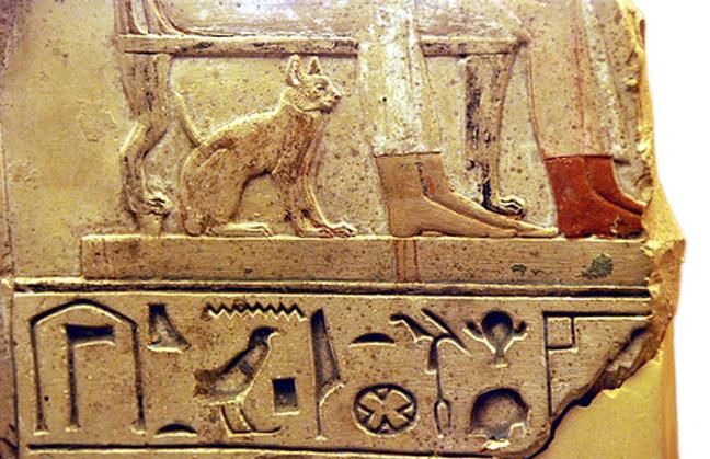 изображение кошки на фреске древнего Египта